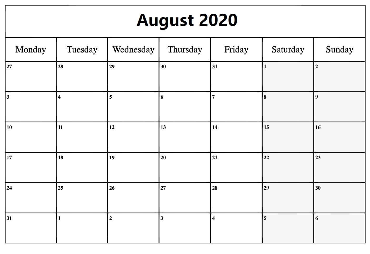 August Calendar 2020 Excel print