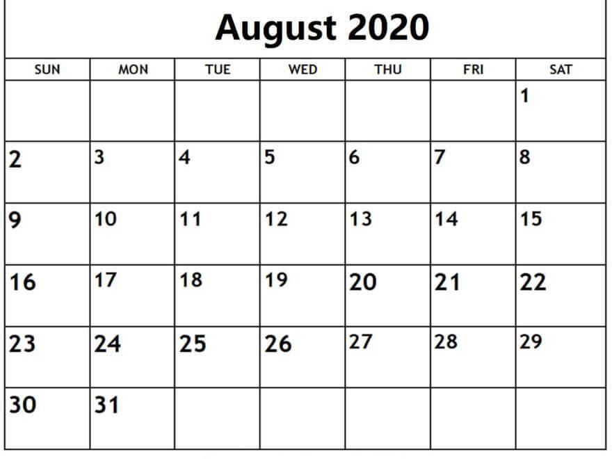 August Calendar 2020 Excel