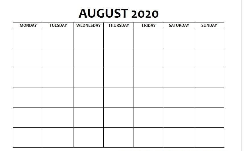 August Calendar 2020 PDF free