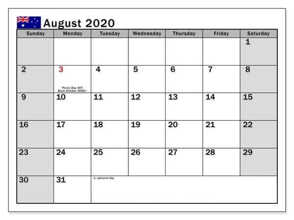 August Calendar 2020 Template download