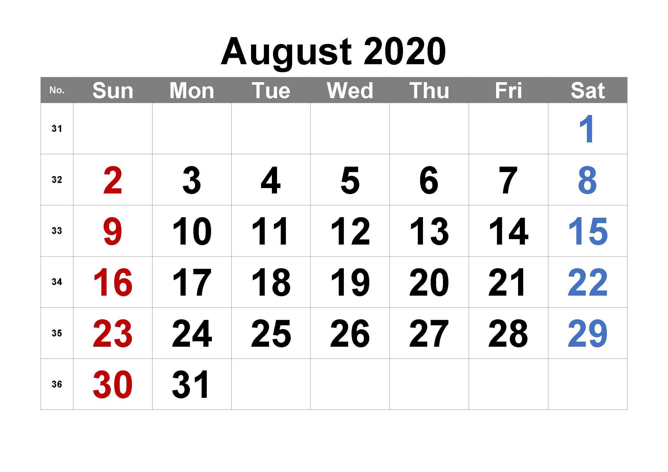 August Calendar 2020 Template free