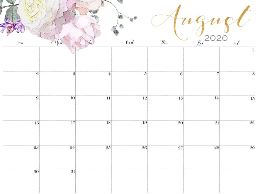 August Calendar 2020 With Holidays 1