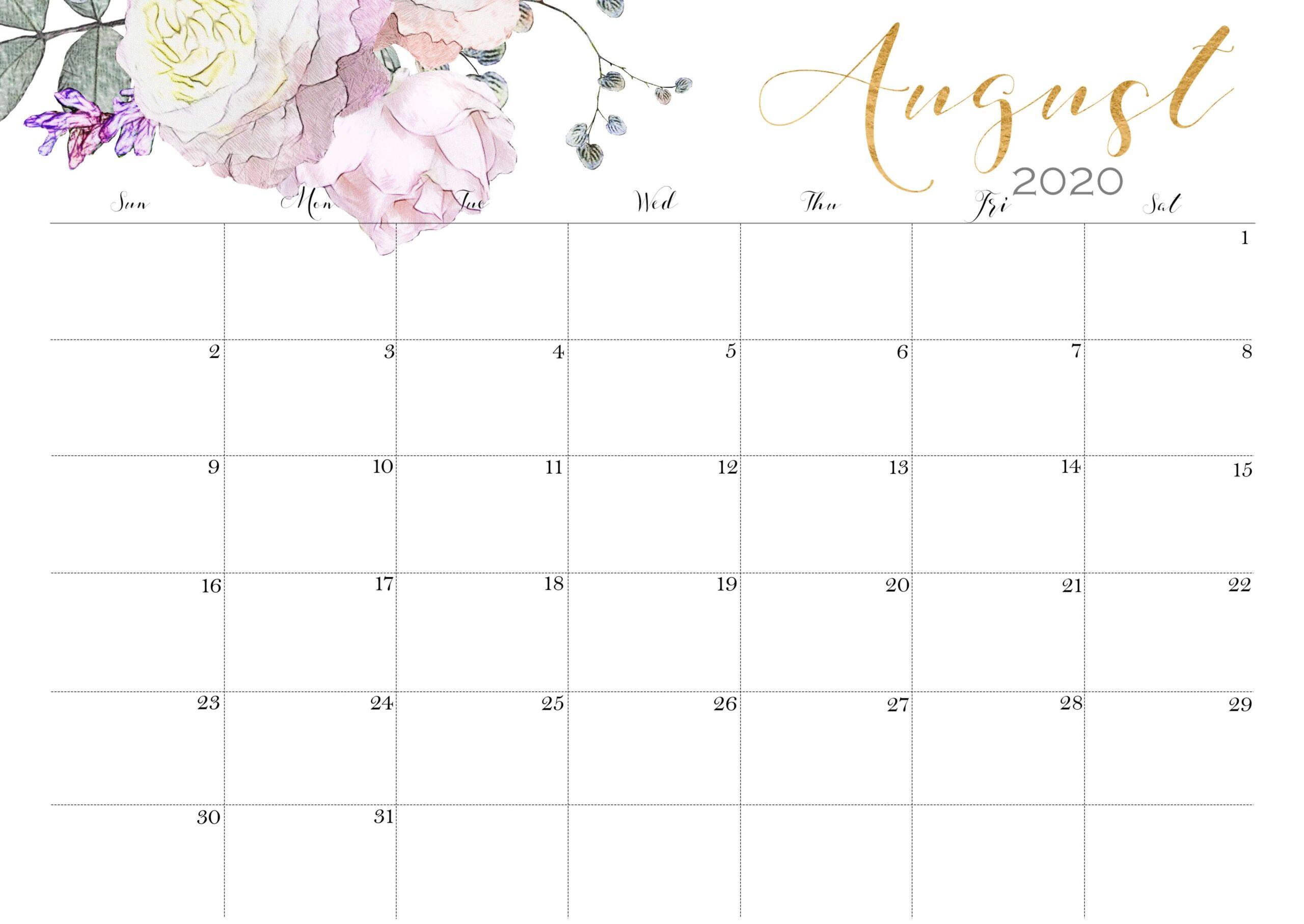 August Calendar 2020 With Holidays 1