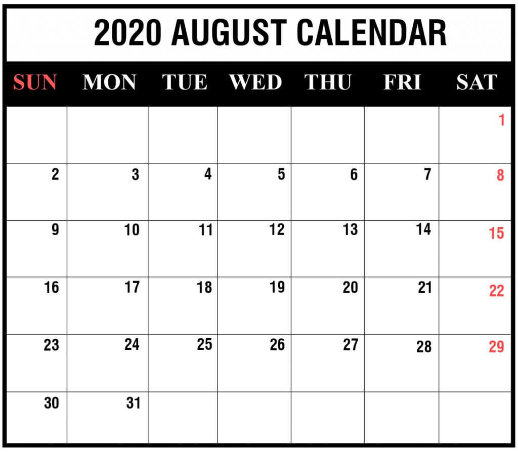 August Calendar 2020 With Holidays