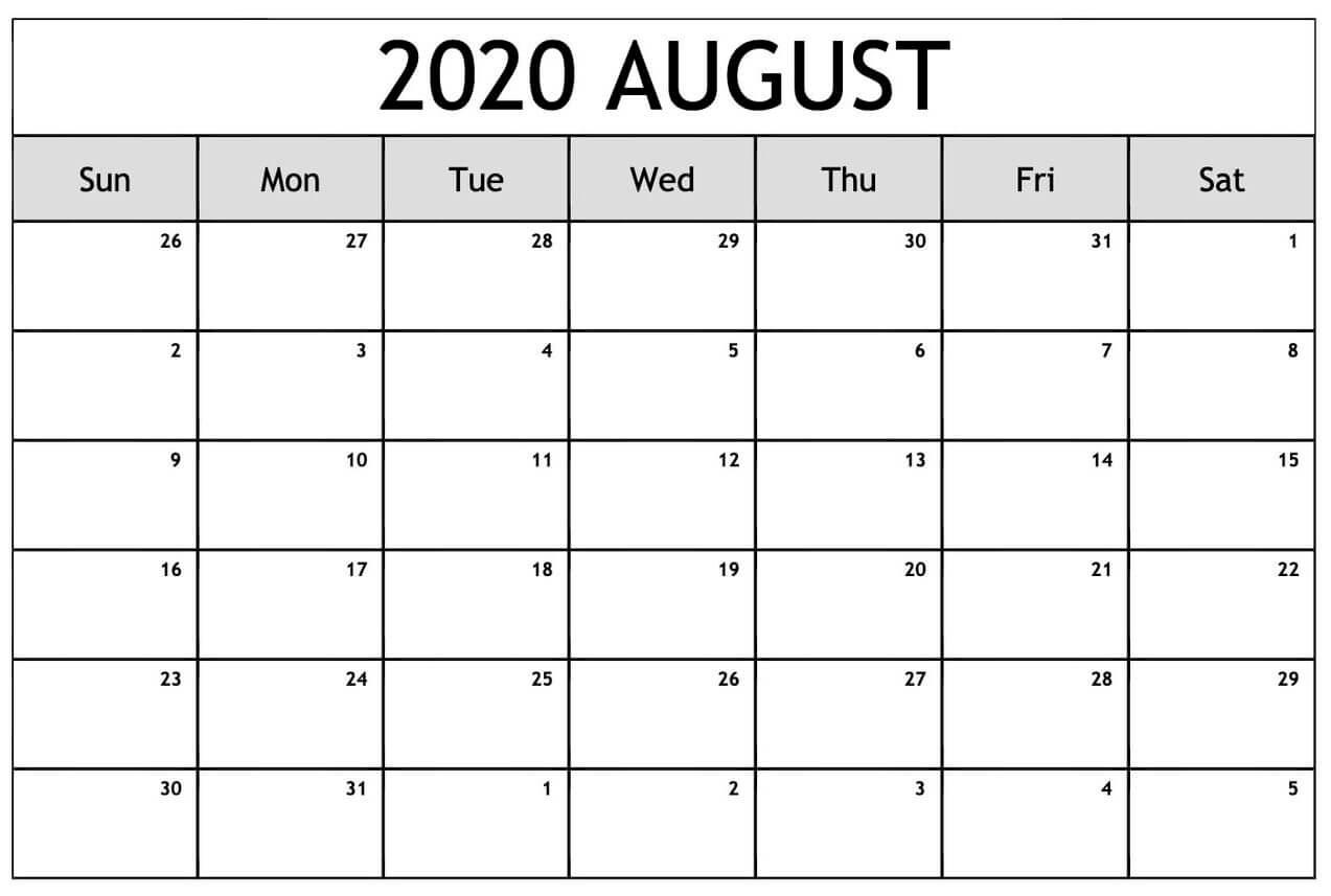 Blank August 2020 Calendar With Holidays
