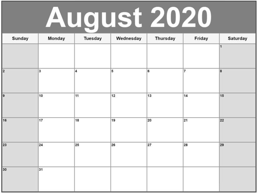 Blank Calendar August 2020