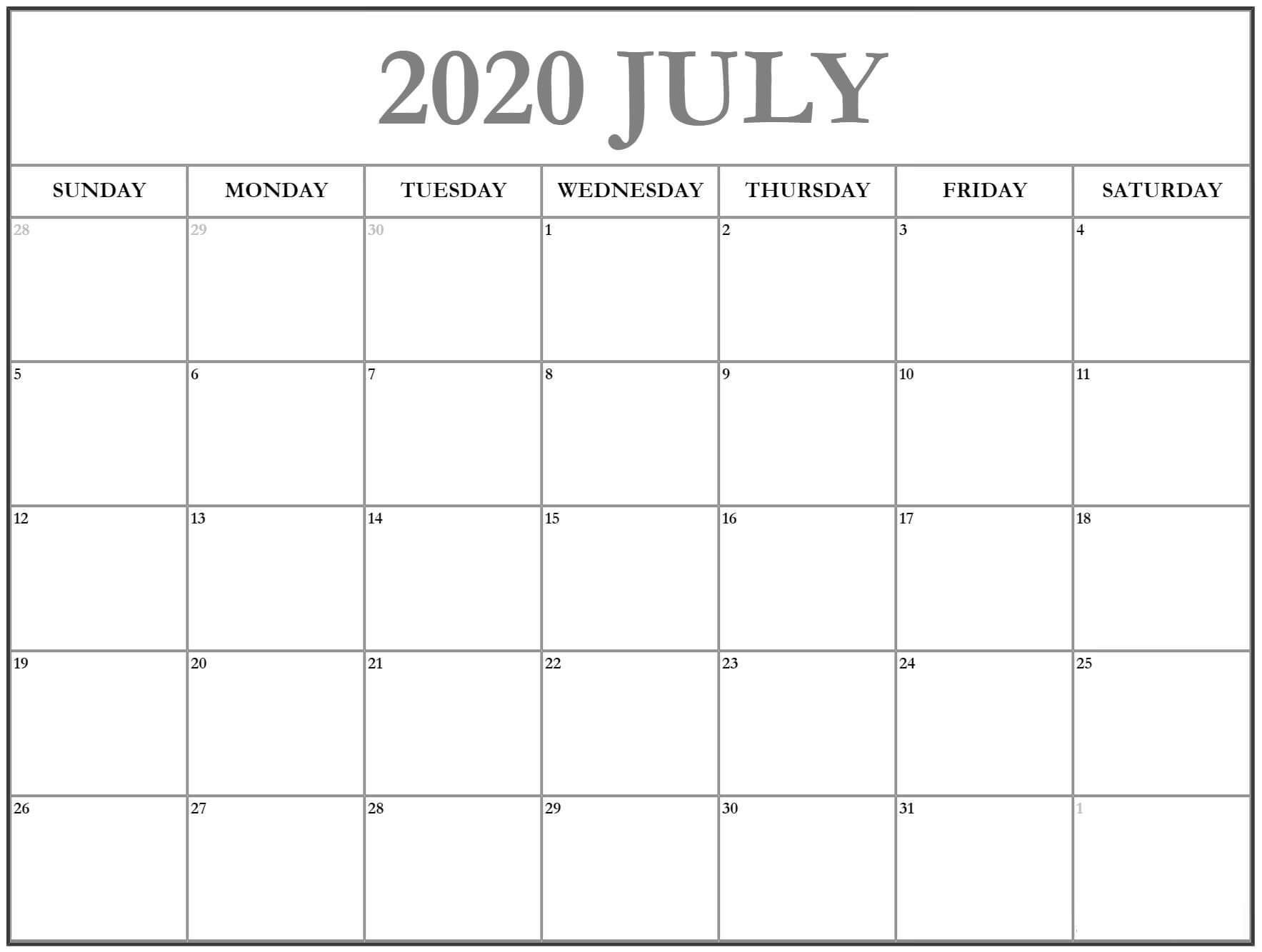Blank July 2020 Calendar With Holidays