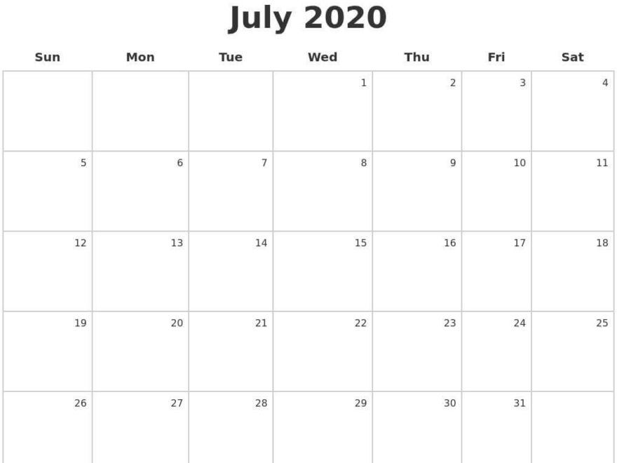 Blank July Calendar 2020