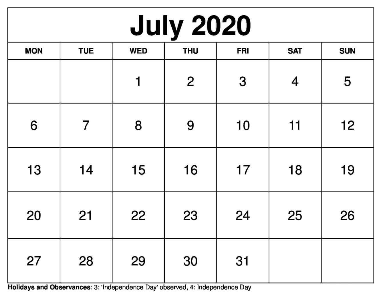 Calendar 2020 For July