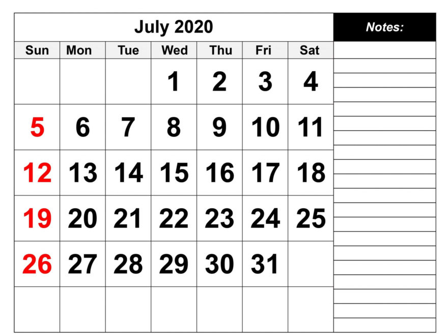 Calendar 2020 July PDF