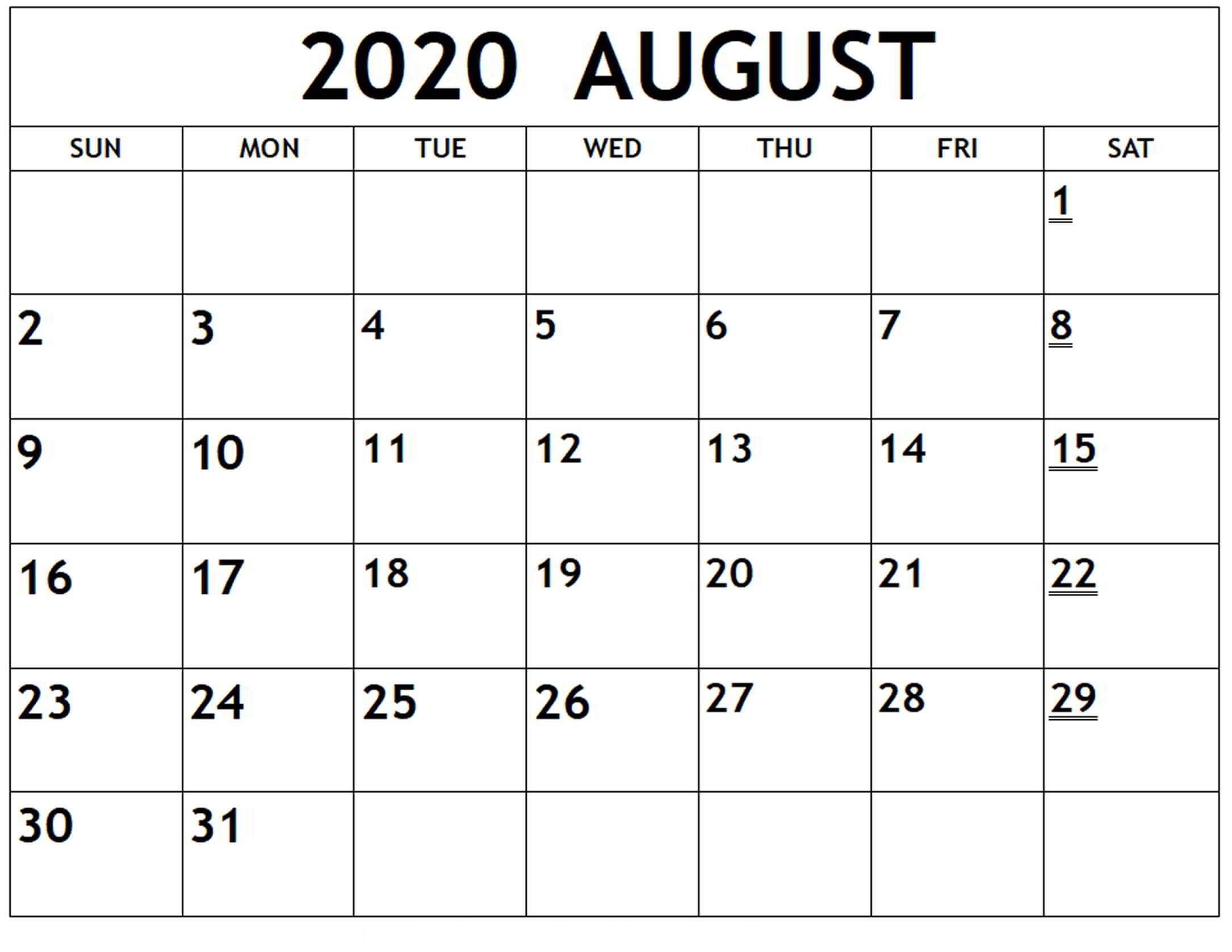 Calendar August 2020 Excel