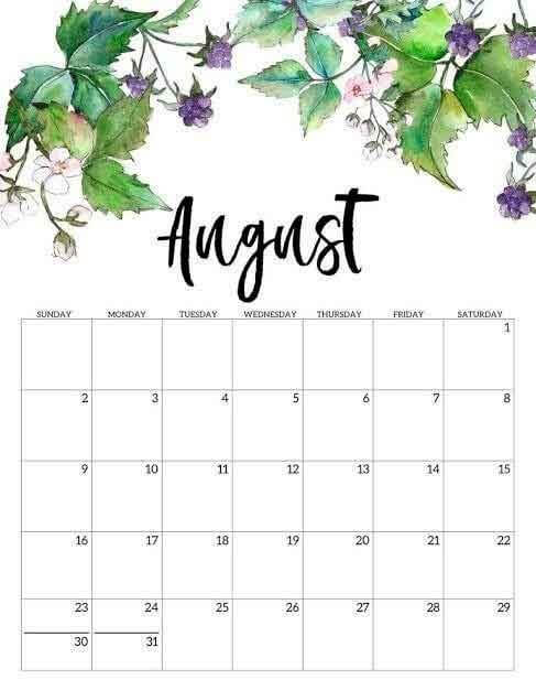 Calendar August 2020 PDF