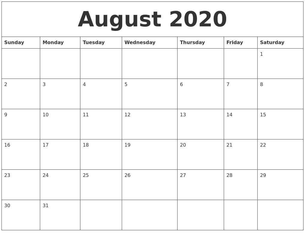 Calendar August 2020 With Holidays