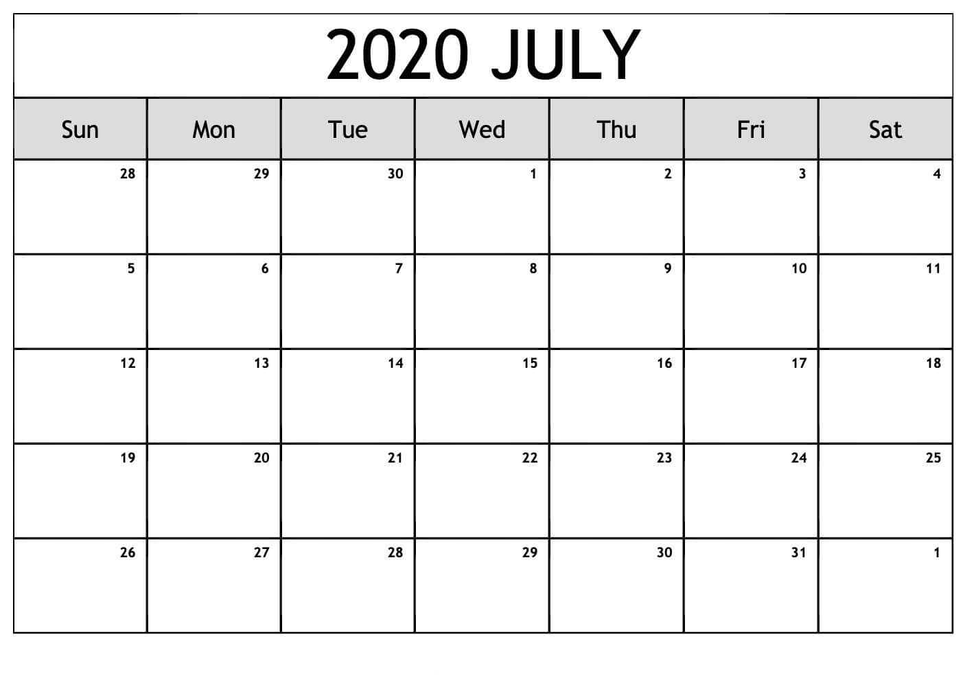 Calendar For 2020 July