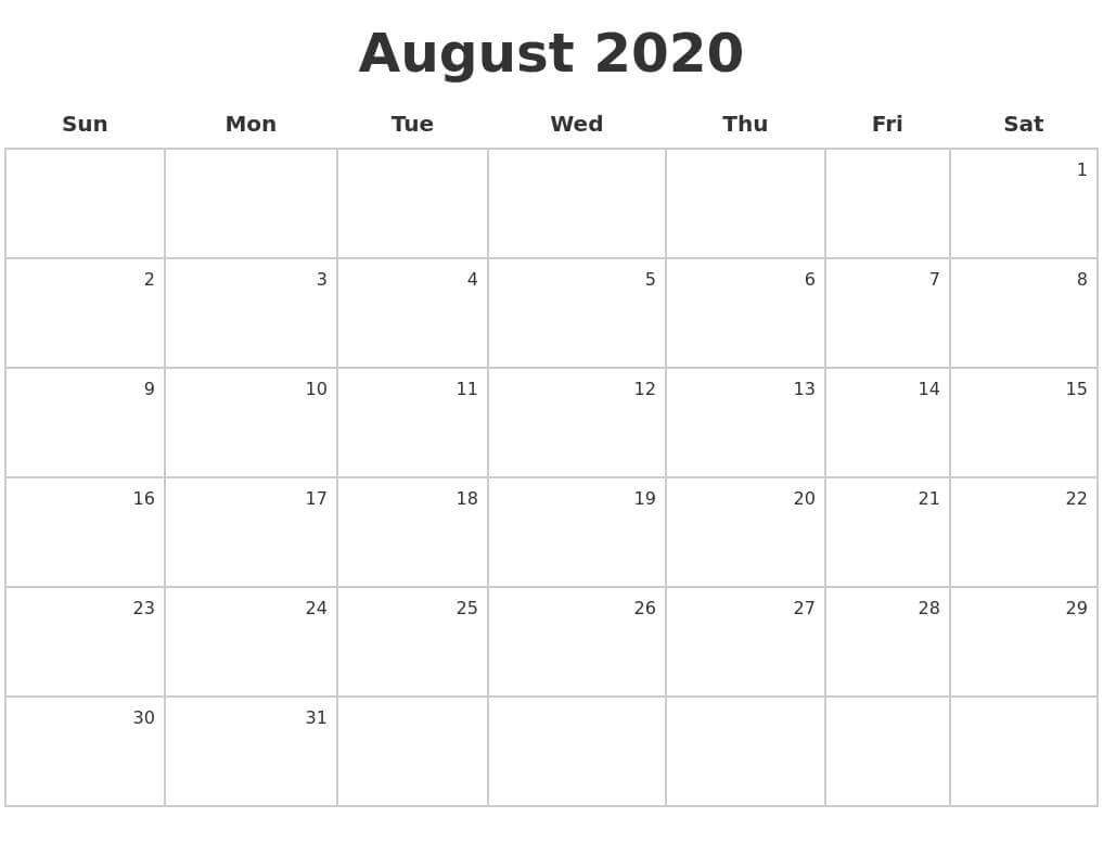 Calendar For August 2020 Template free