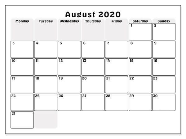 Calendar For August 2020 download