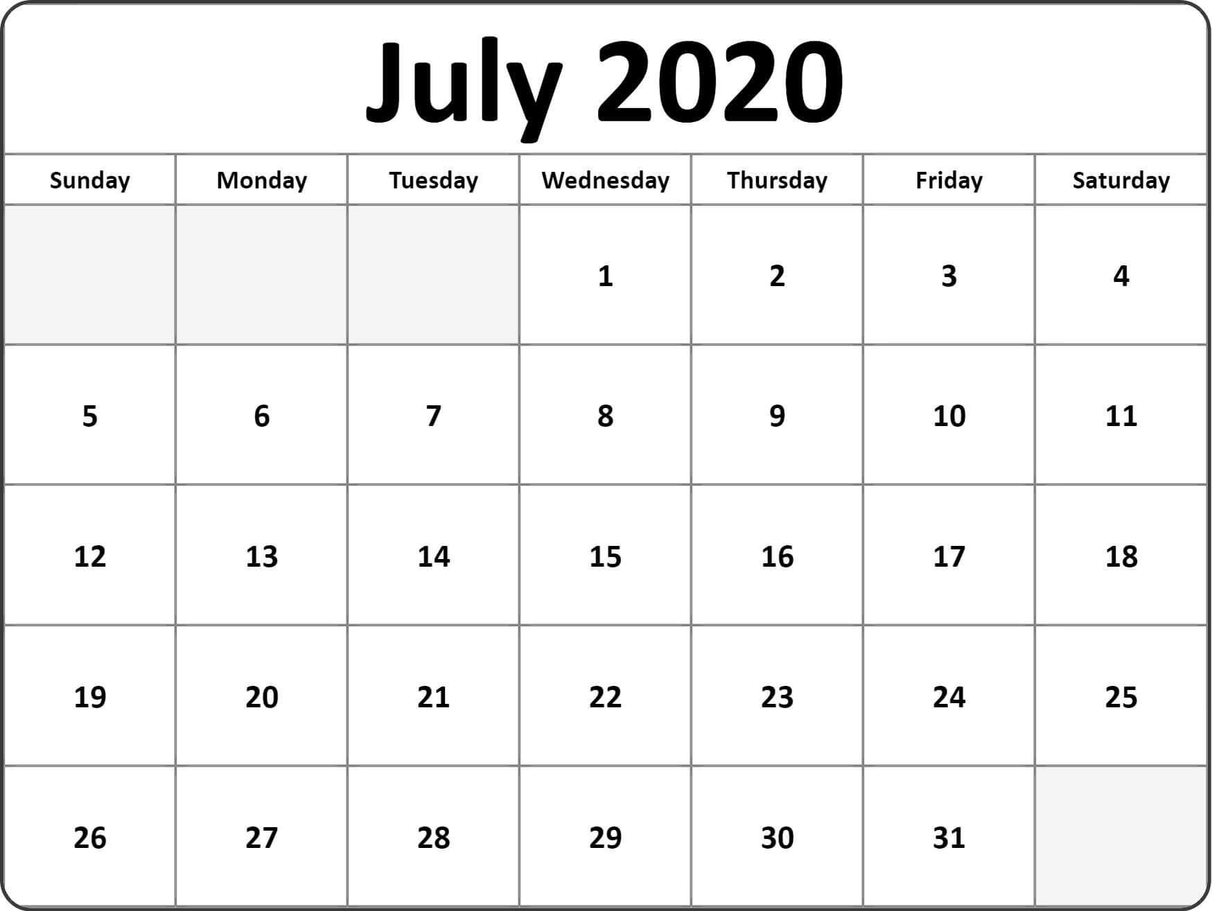Calendar For July 2020 Holiday