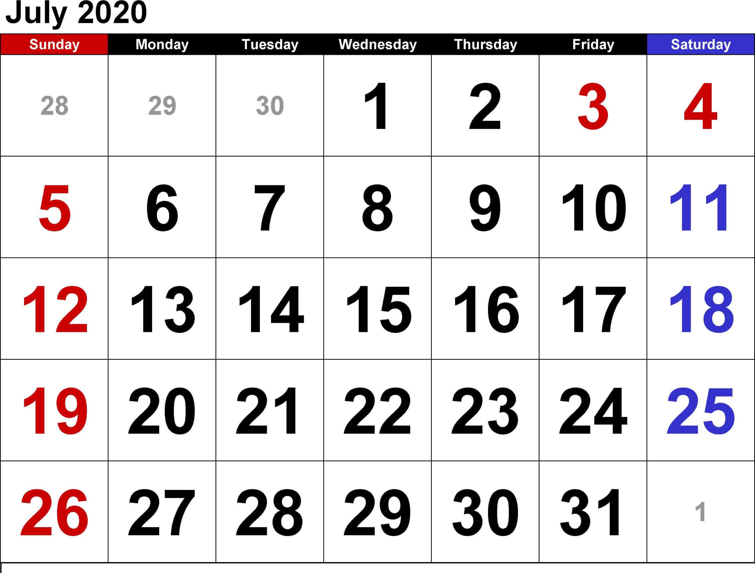 Calendar For July 2020 PDF