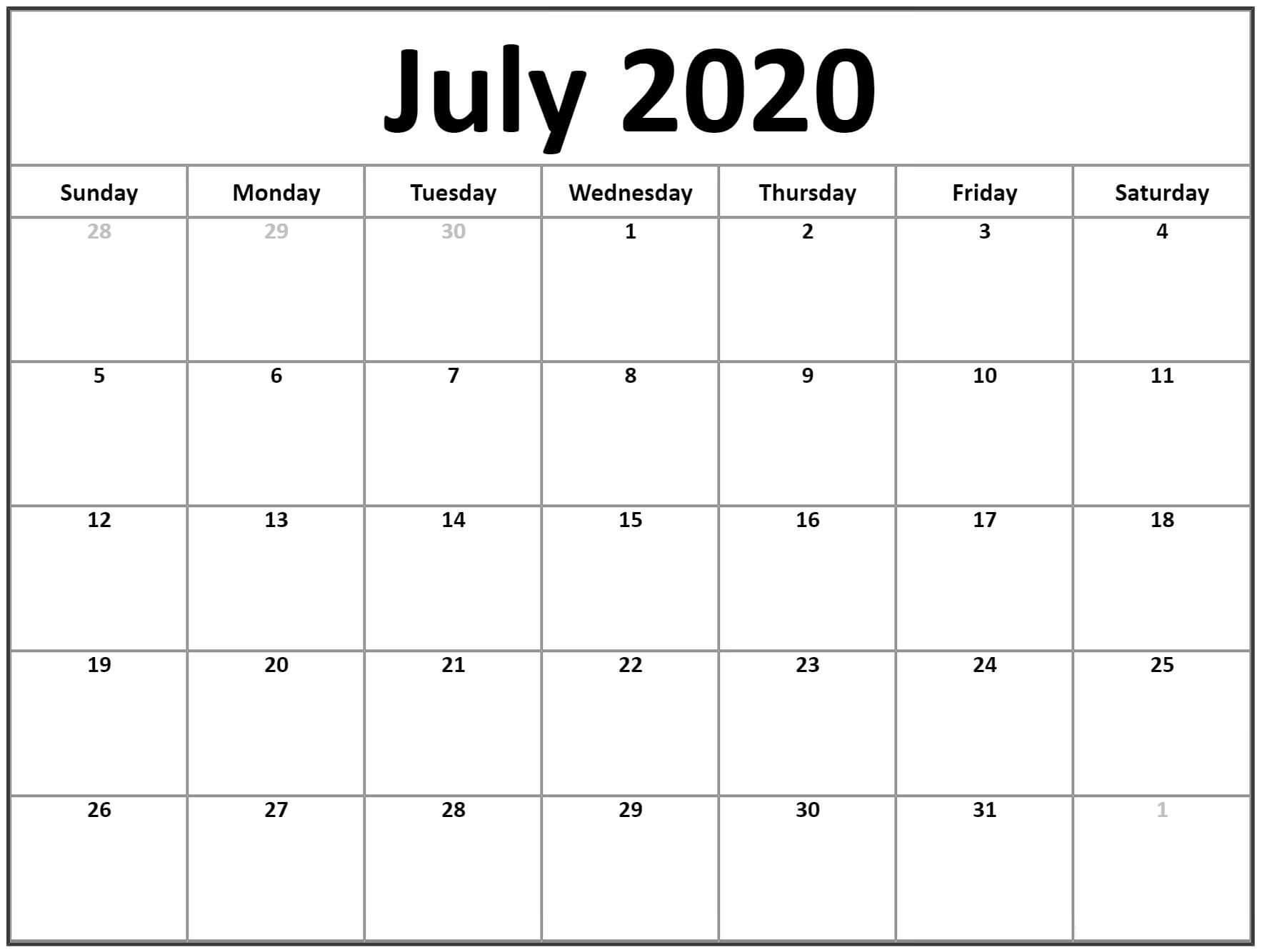 Calendar For July 2020 Template free