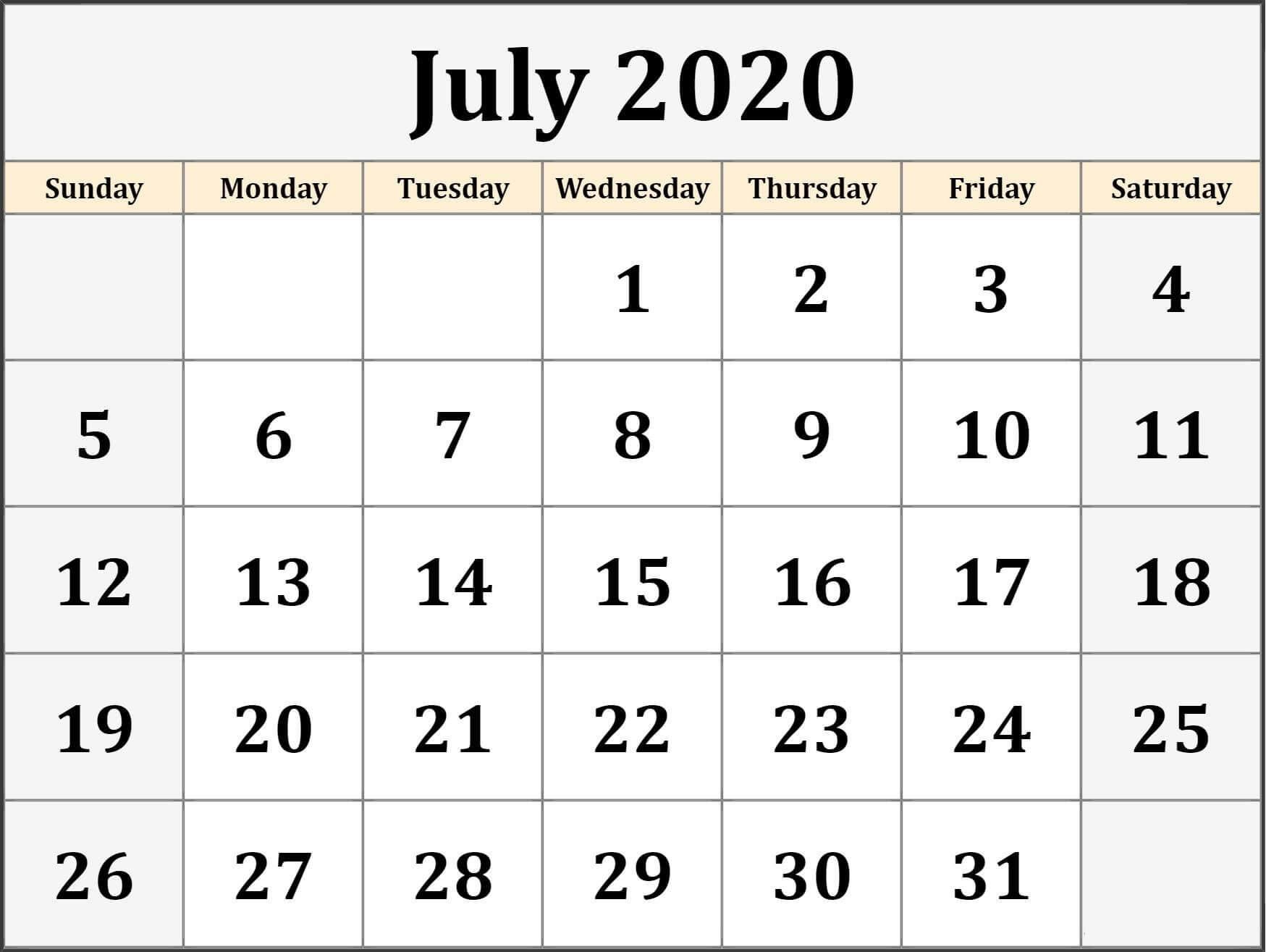 Calendar For July 2020 Template