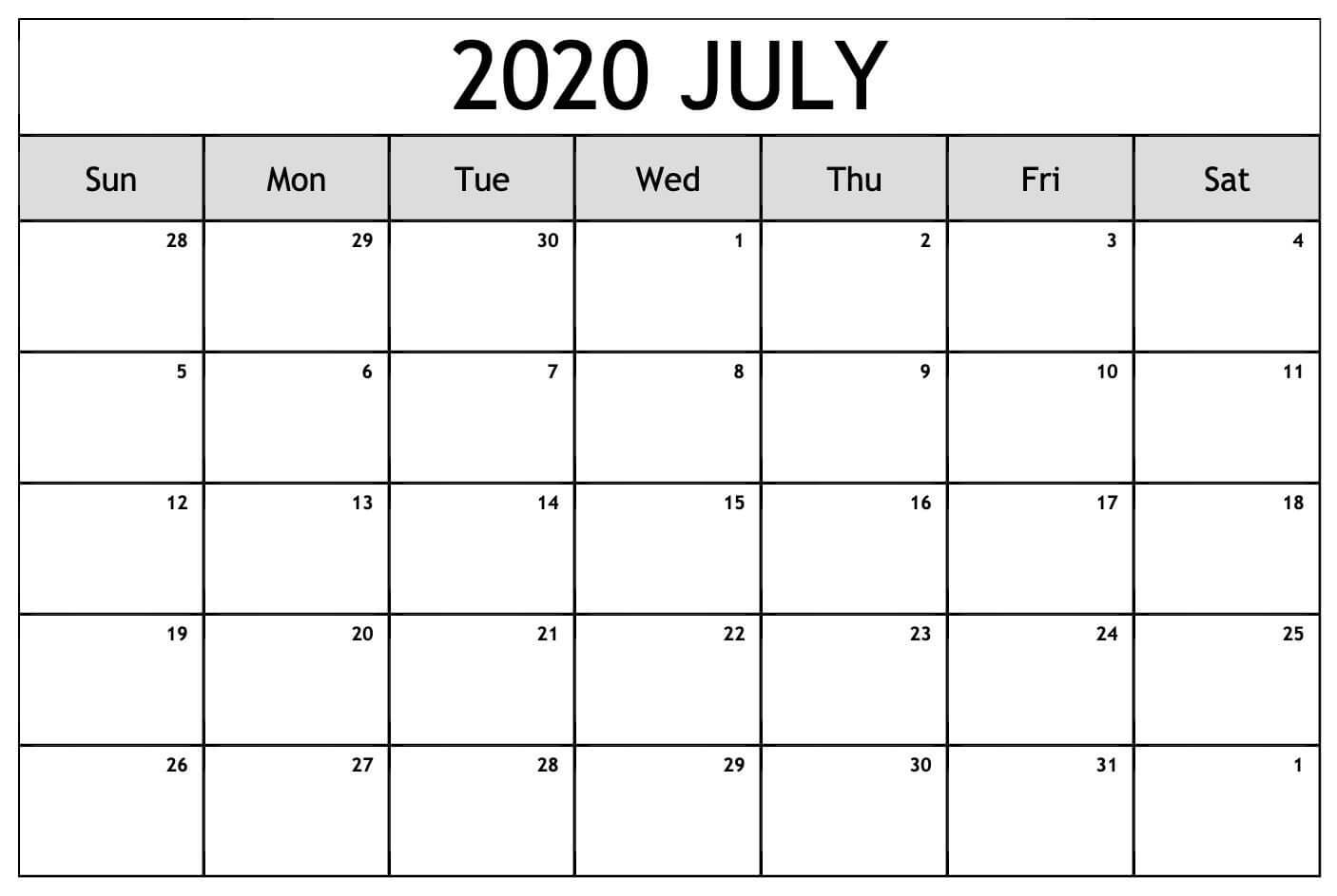 Calendar For July 2020 download