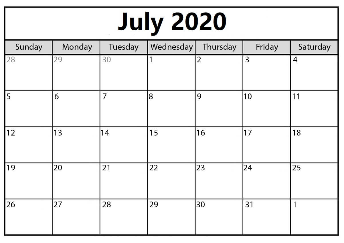 Calendar July 2020 With Holidays