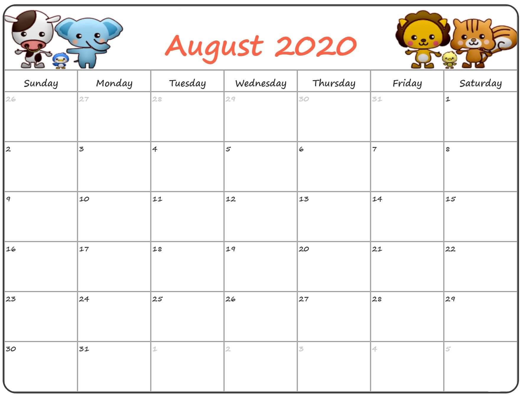 Cute August 2020 Calendar ForMAT