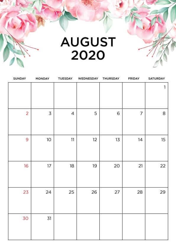 Cute August 2020 Calendar Page