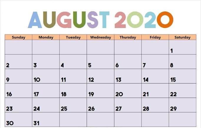 Cute August 2020 Calendar Sheet