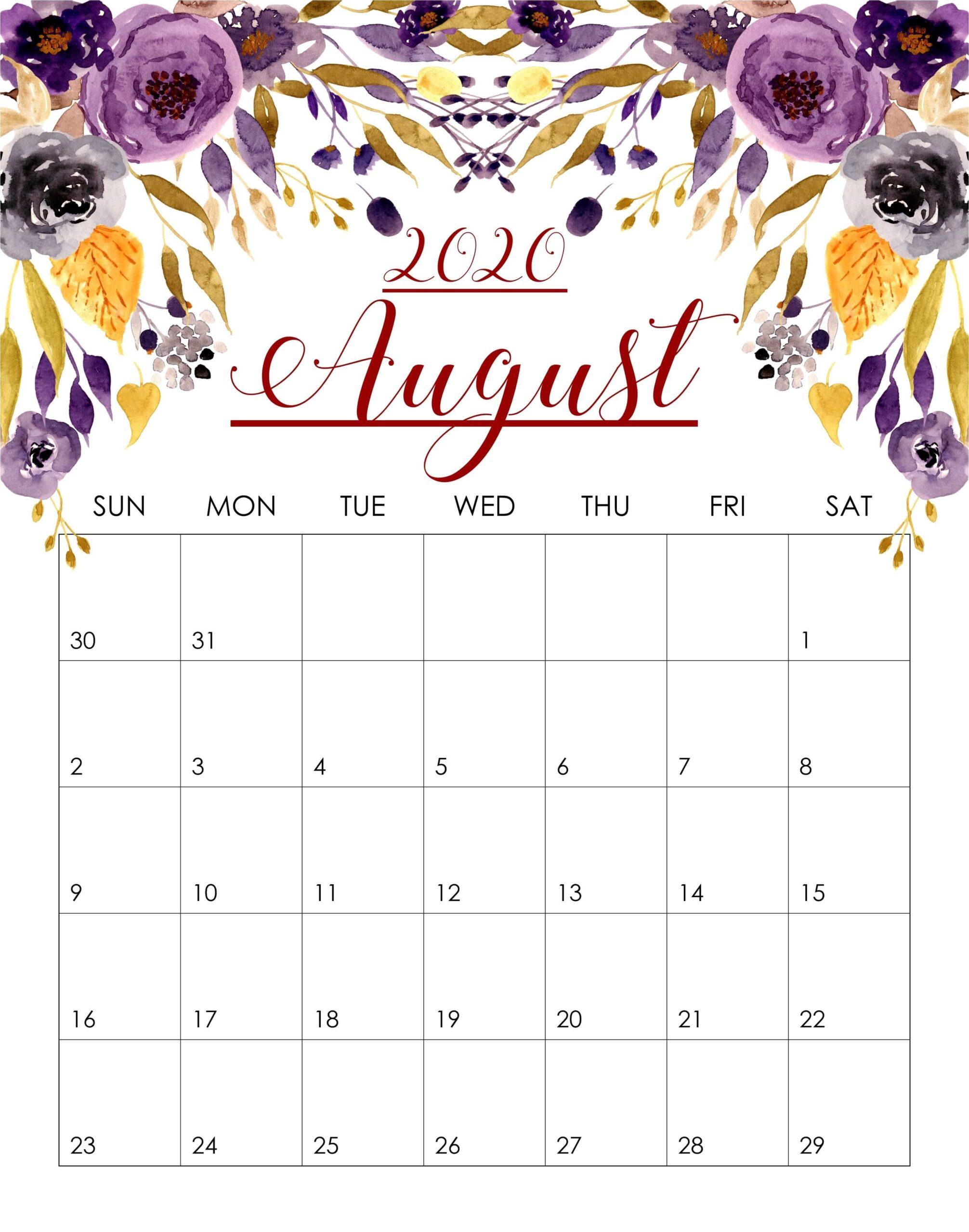 Cute August 2020 Calendar Template