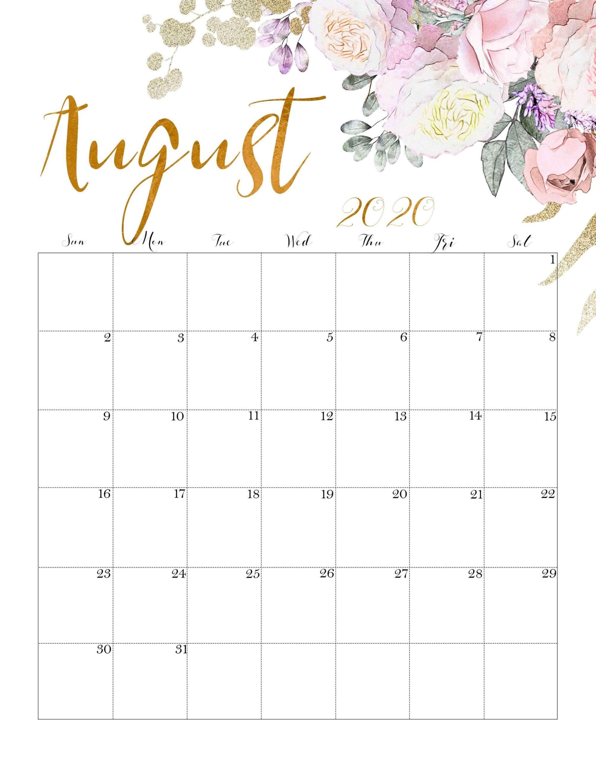 Cute August 2020 Calendar Wallpaper 1