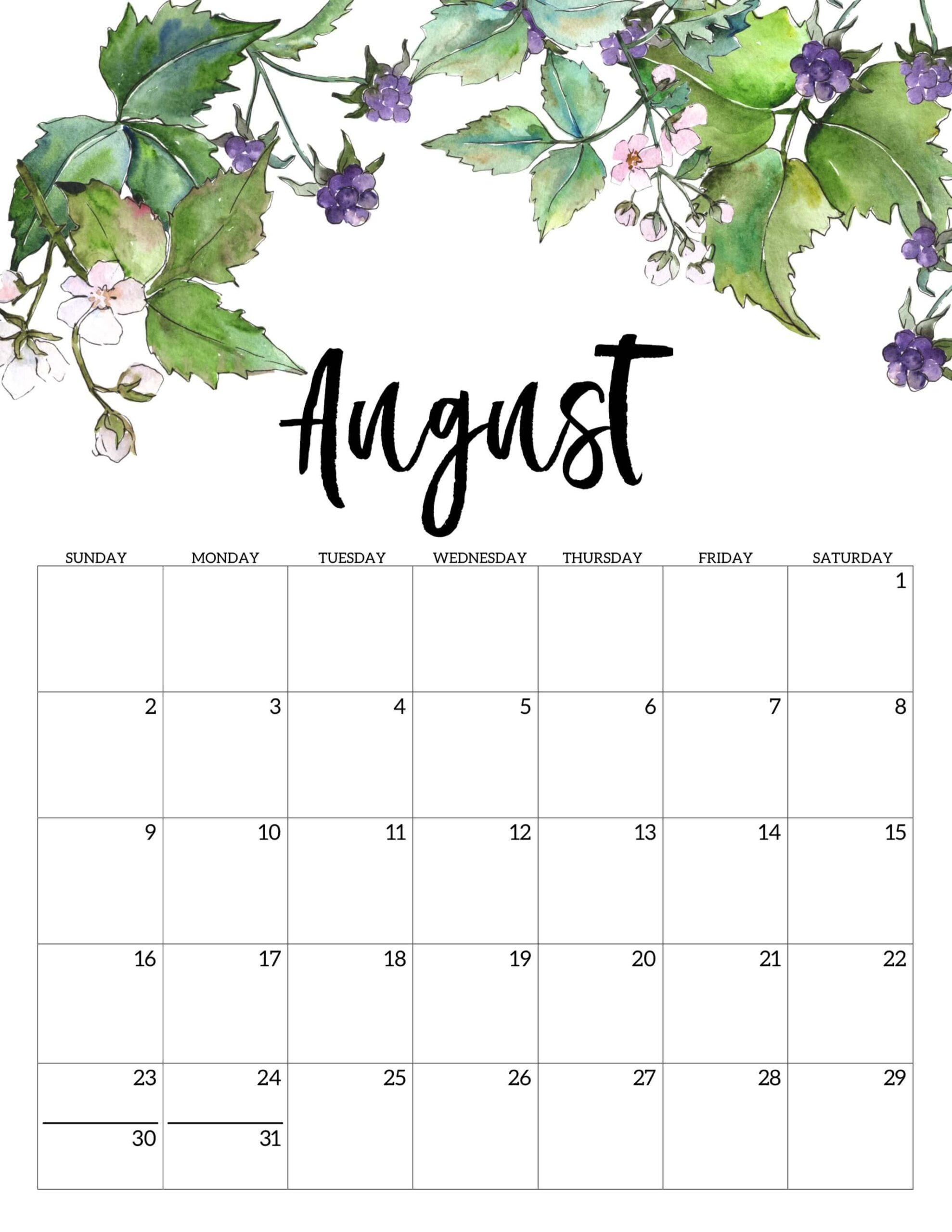 Cute August 2020 Calendar Wallpaper download