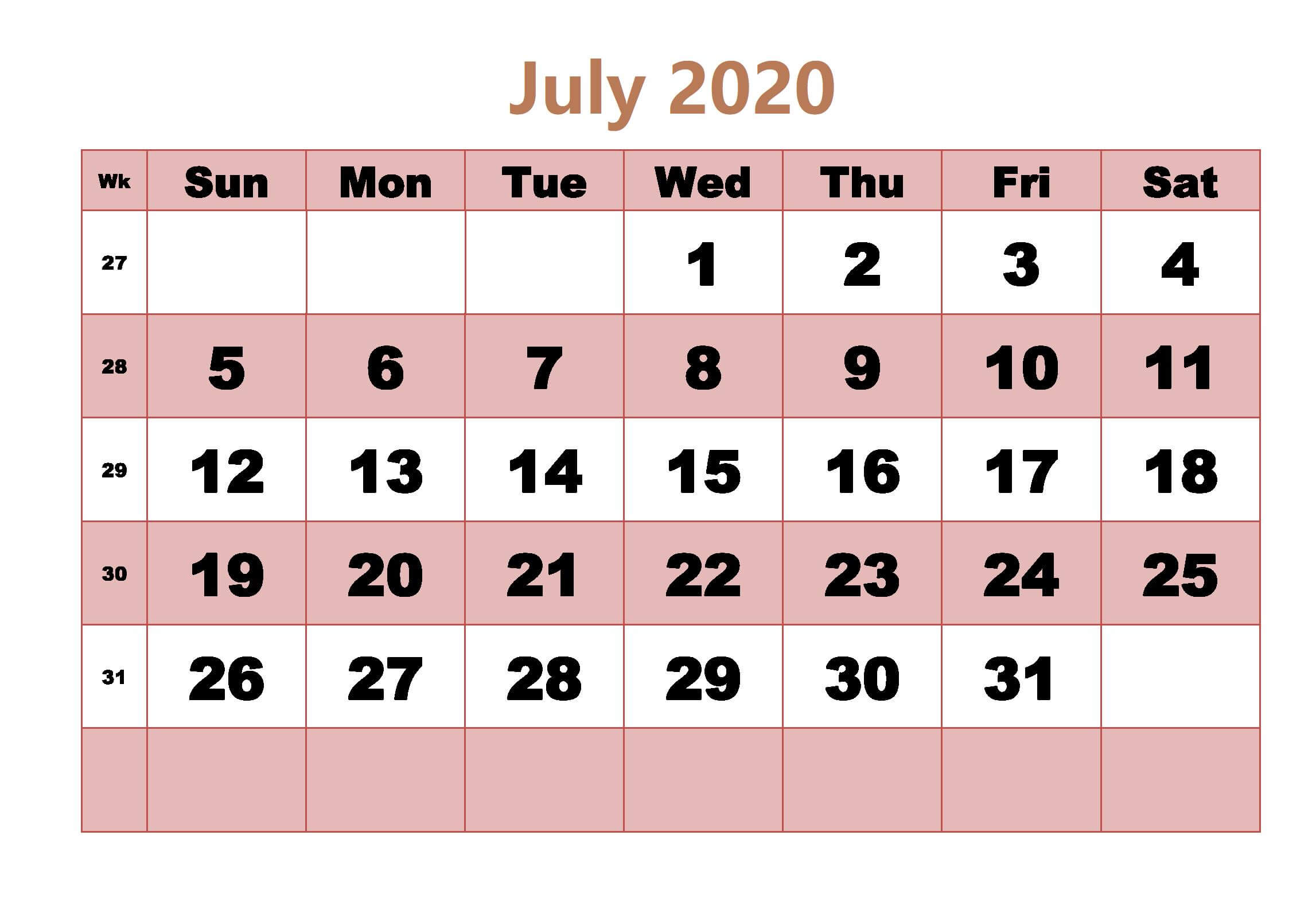 Cute July 2020 Calendar Page