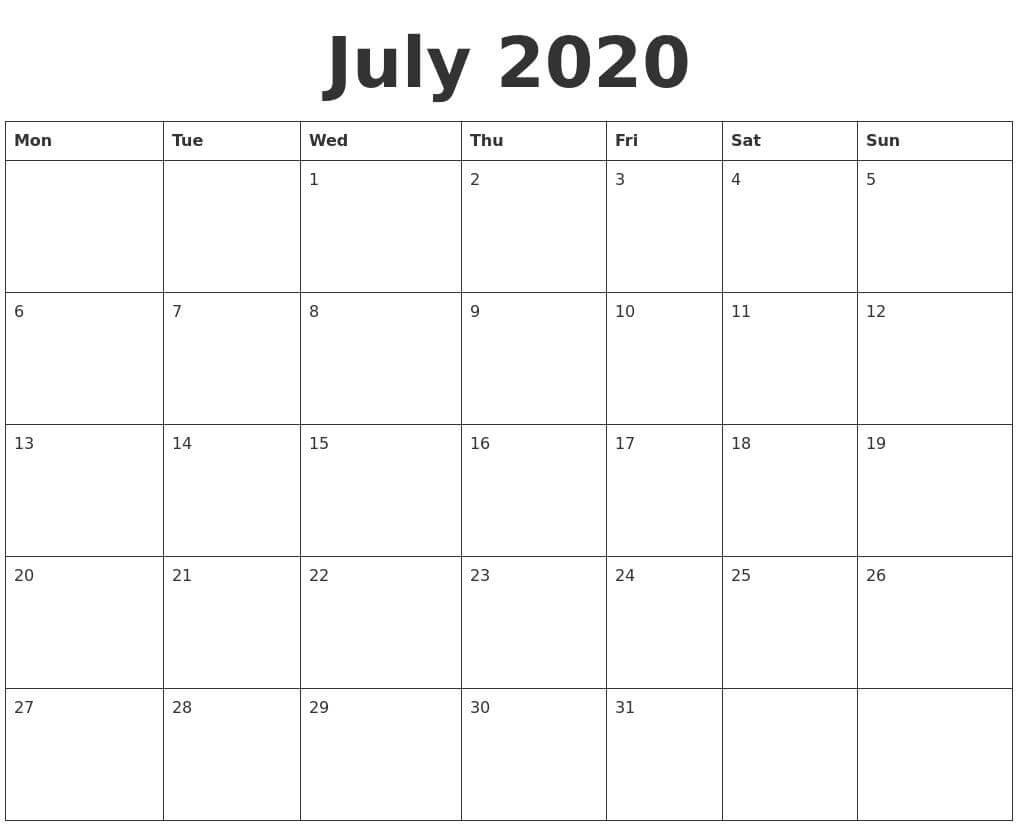 Cute July 2020 Calendar Wallpaper