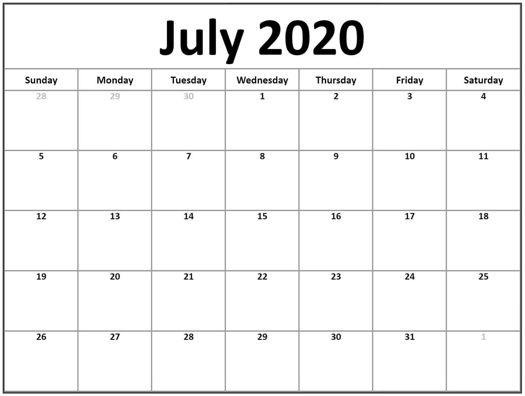 Cute July 2020 Calendar With Holidays
