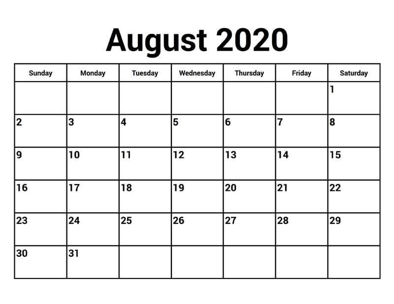 Download August 2020 Calendar PDF
