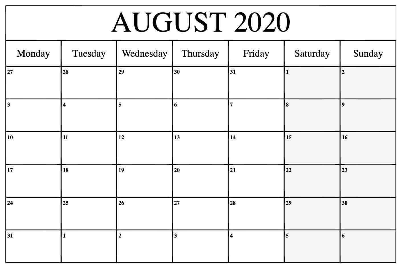 Download August 2020 Calendar Template