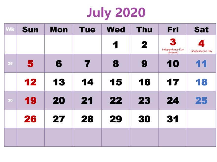 Download July 2020 Calendar PDF