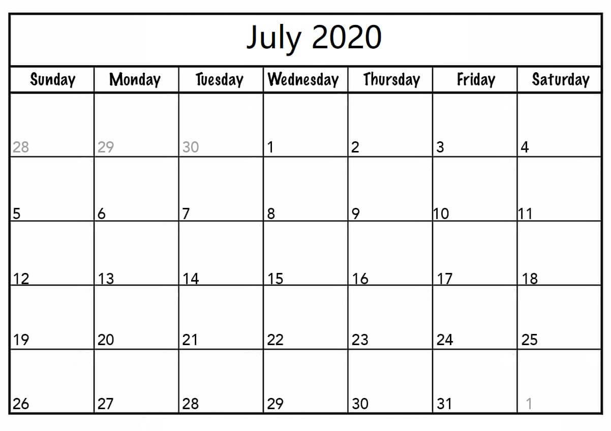 Download July 2020 Calendar Template