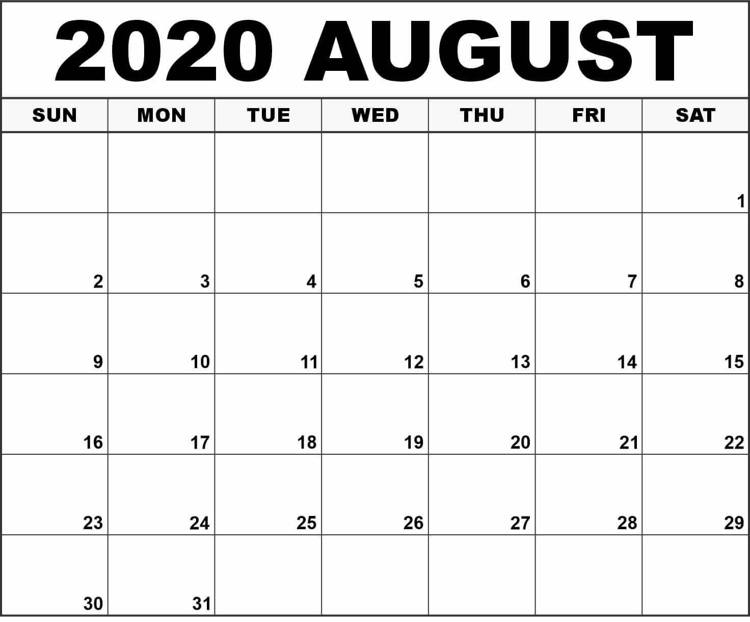 Editable 2020 August Calendar