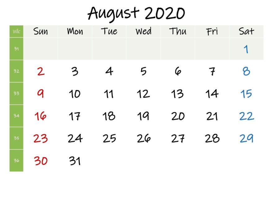 Editable August 2020 Calendar PDF