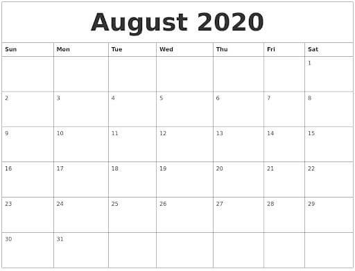 Editable August 2020 Calendar Word download