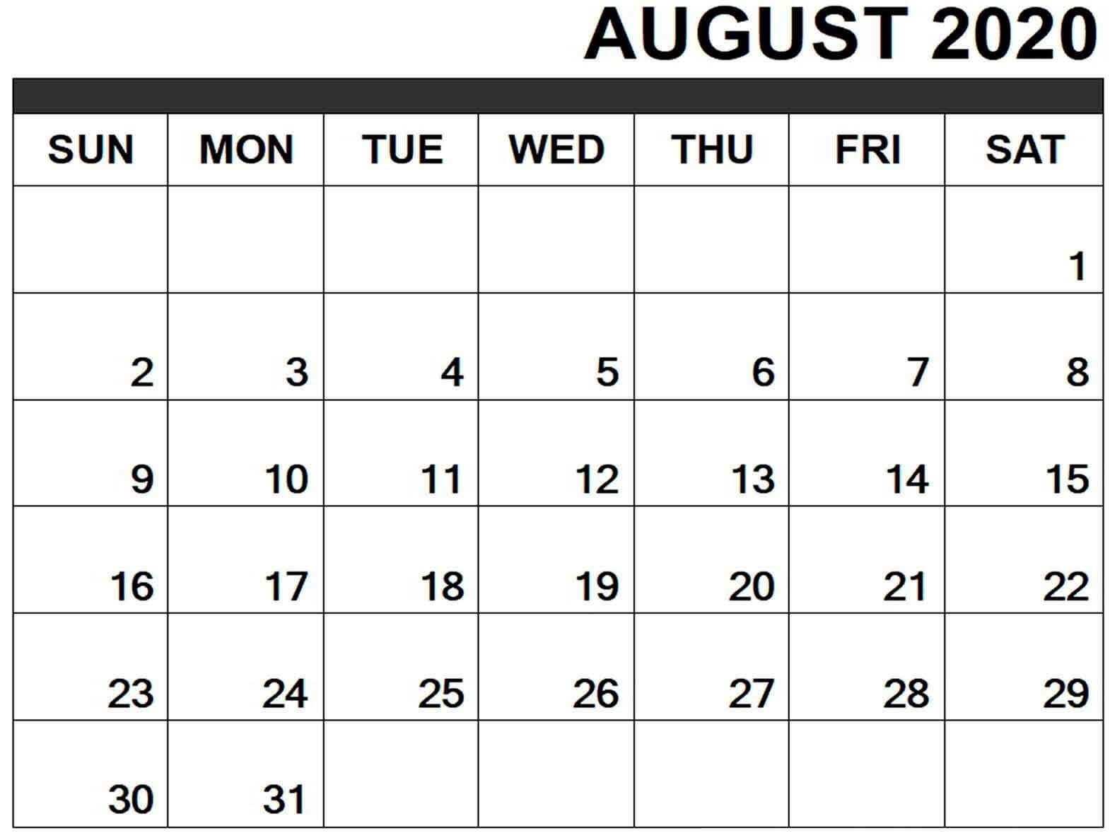 Editable August 2020 Calendar Word