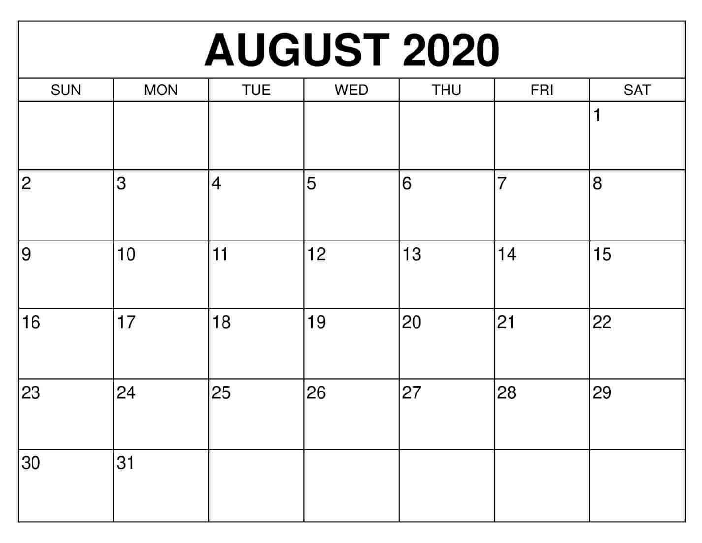 Editable August 2020 Cute Calendar