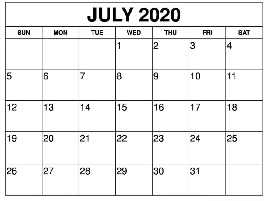 Editable July 2020 Calendar Planner