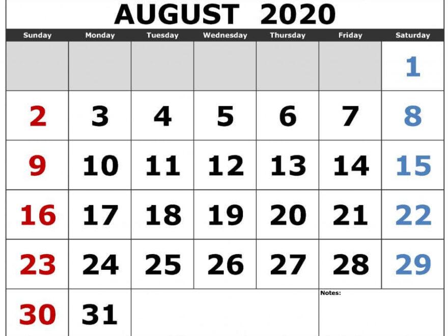 Excel August 2020 Calendar