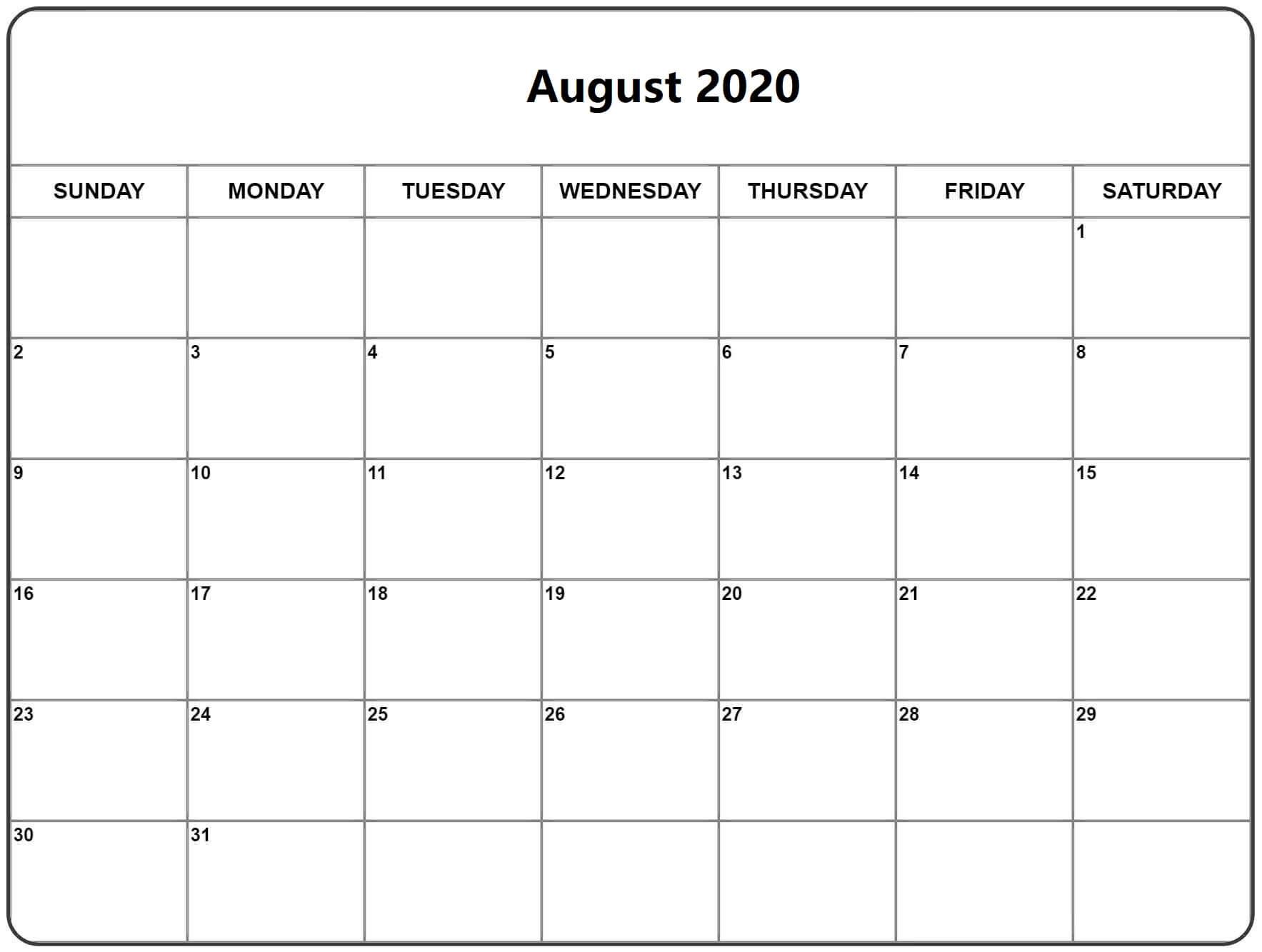 Excel August 2020 Calendar free