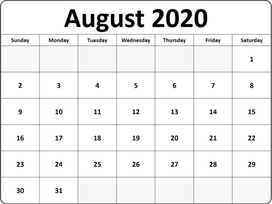 Free August 2020 Calendar Wallpaper