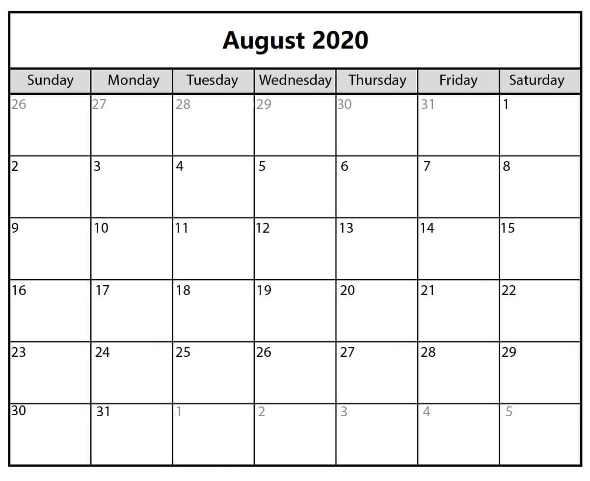 Free Calendar For August 2020