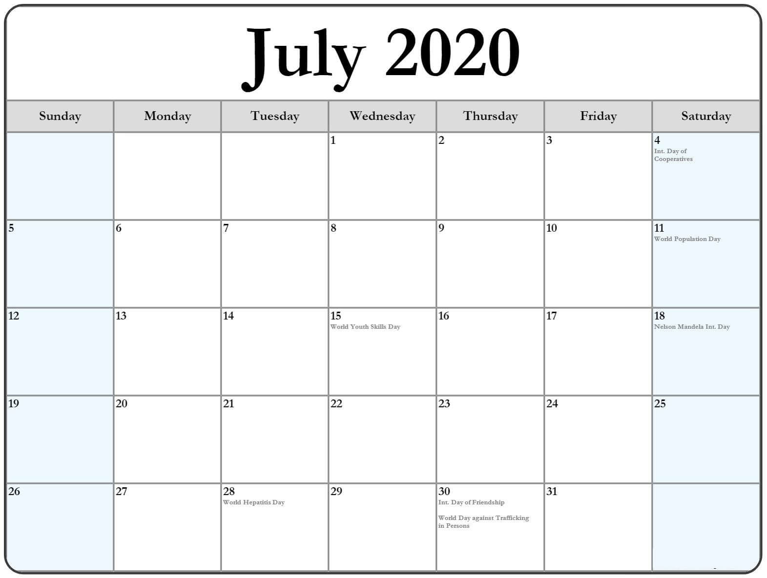 Free Calendar For July 2020